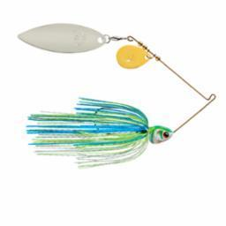 Booyah Covert 3-8oz Wht-Chart-Blue G-N-Willow Tandem-Spinner Baits-Booyah Baits-Bass Fishing Hub