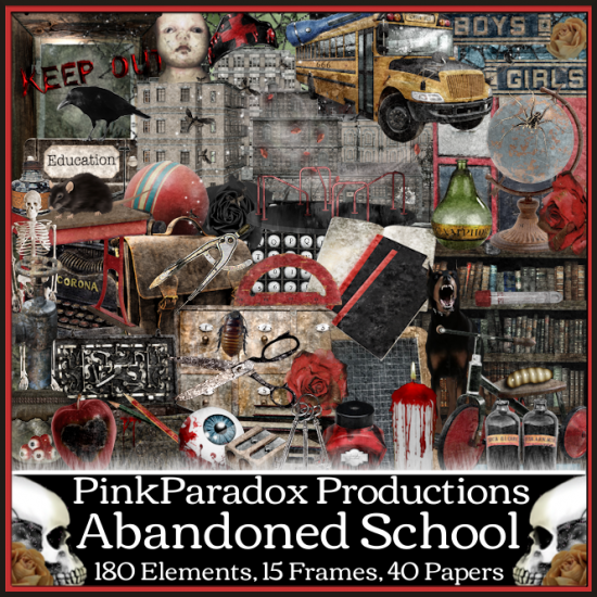 Pink Paradox Abandoned School  Scrap Kit