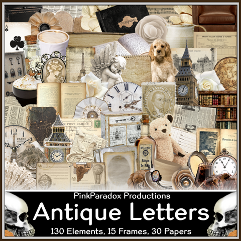 Pink Paradox Antique Letters Scrap Kit