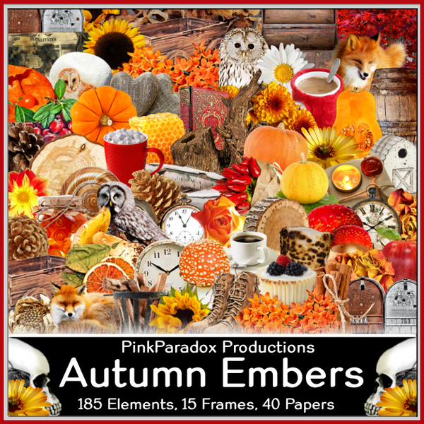 Pink Paradox Autumn Embers  Scrap Kit