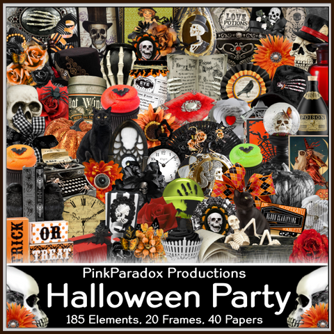 Pink Paradox Halloween Party Scrap Kit