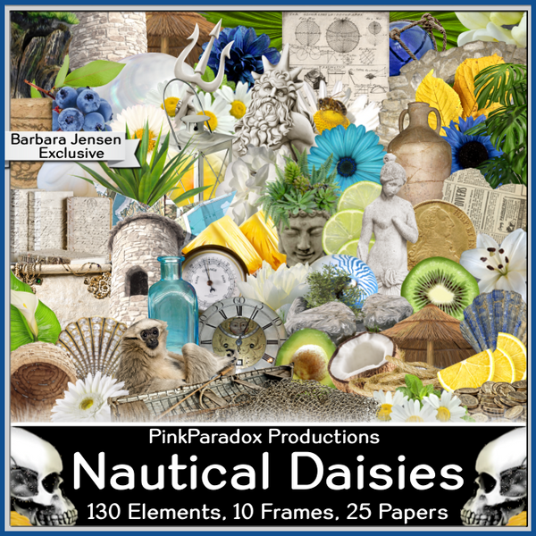 Pink Paradox Nautical Daisies Scrap Kit