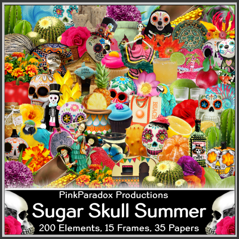 Pink Paradox Sugar Skull Summer Scrap Kit