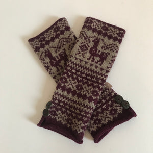Rory & Ruby alpaca blend fingerless gloves with Fair Isle pattern.