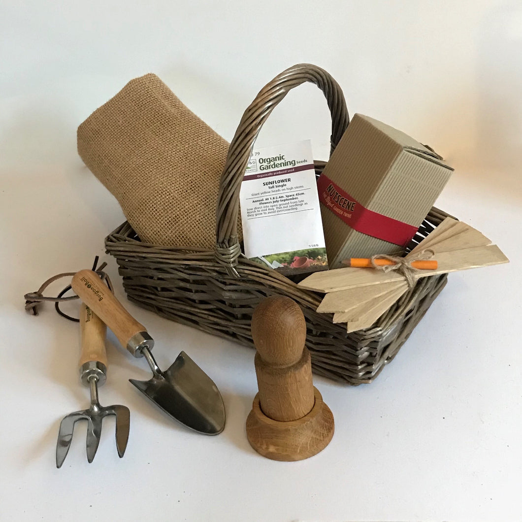 Rory & Ruby Budding Gardener Hamper with six fun eco and organic gifts inside a robust mini woven willow trug style basket.