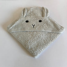 Load image into Gallery viewer, Rory & Ruby silver grey 100% hooded baby bath towel with bunny ears and baby-safe embroidered features.