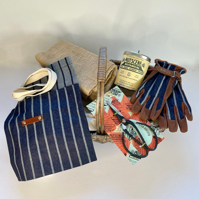 Rory & Ruby gardener's delight hamper with five eco gardening gifts in a large split willow woven trug.