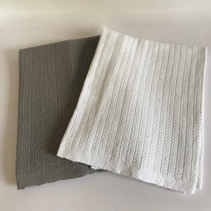 Rory & Ruby 100% cotton cellular baby blankets available in a choice of grey or pure white..