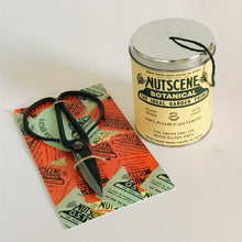 Load image into Gallery viewer, Rory & Ruby large vintage metal garden scissors and tin of green garden twine.