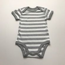 Load image into Gallery viewer, Rory & Ruby grey and white stripy short sleeve organic cotton baby bodysuit.