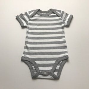 Rory & Ruby 100% cotton silver grey stripy short sleeve baby bodysuit.