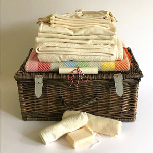 Rory & Ruby luxury baby hamper filled with organic and eco-friendly welcome to the world gifts and personalised scroll.