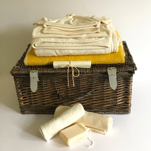 Rory & Ruby organic baby hamper filled with organic and eco-friendly welcome to the world gifts and personalised scroll.