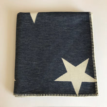 Load image into Gallery viewer, Rory & Ruby reversible star design throw in navy and ivory with traditional blanket stitch edging.
