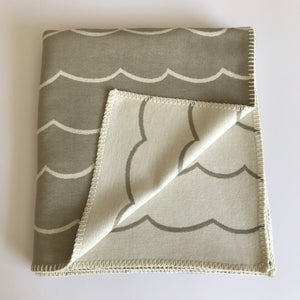 Rory & Ruby organic cotton throw with reversible wave design in sand and ivory.