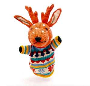 Rory & Ruby organic cotton reindeer hand puppet with Fair Isle Jumper.