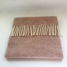 Load image into Gallery viewer, Rory & Ruby pure new wool fringed baby blanket in dusky pink.