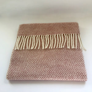 Rory & Ruby pure new wool fringed baby blanket in dusky pink.