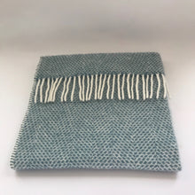 Load image into Gallery viewer, Rory & Ruby pure new wool fringed baby blanket in sky blue.