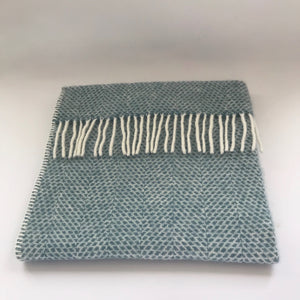 Rory & Ruby pure new wool fringed baby blanket in sky blue.