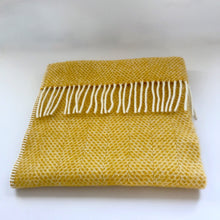 Load image into Gallery viewer, Rory & Ruby pure new wool fringed baby blanket in sunshine yellow.