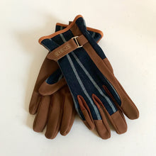 Load image into Gallery viewer, Rory & Ruby Sophie Conran one size gardener's gloves with blue ticking fronts, tan  ultra-soft faux leather and adjustable wrist straps.