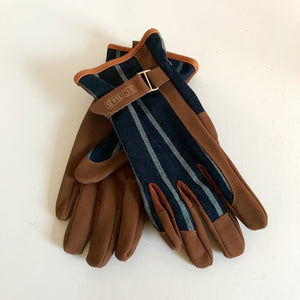 Rory & Ruby Sophie Conran one size gardener's gloves with blue ticking fronts, tan  ultra-soft faux leather and adjustable wrist straps.
