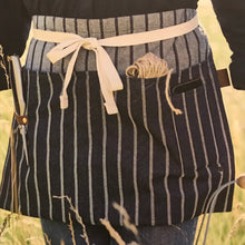 Load image into Gallery viewer, Rory & Ruby Sophie Conran gardener's waist apron in blue 100% cotton ticking.