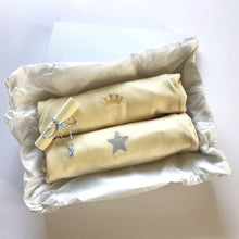 Load image into Gallery viewer, Rory & Ruby long sleeve organic cotton baby sleepsuits with gold crown and silver star embroidery in gift box.