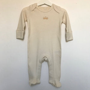 Rory & Ruby organic cotton baby sleepsuit with gold embroidered crown.