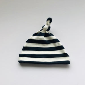 Rory & Ruby 100% cotton baby beanie in navy and ivory stripes.