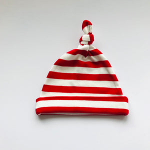 Rory & Ruby 100% cotton baby beanie in red and ivory stripes.