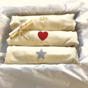 Rory & Ruby luxury baby gift box with three embroidered organic cotton sleepsuits.