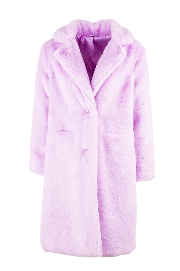 faux fur coat in lilac