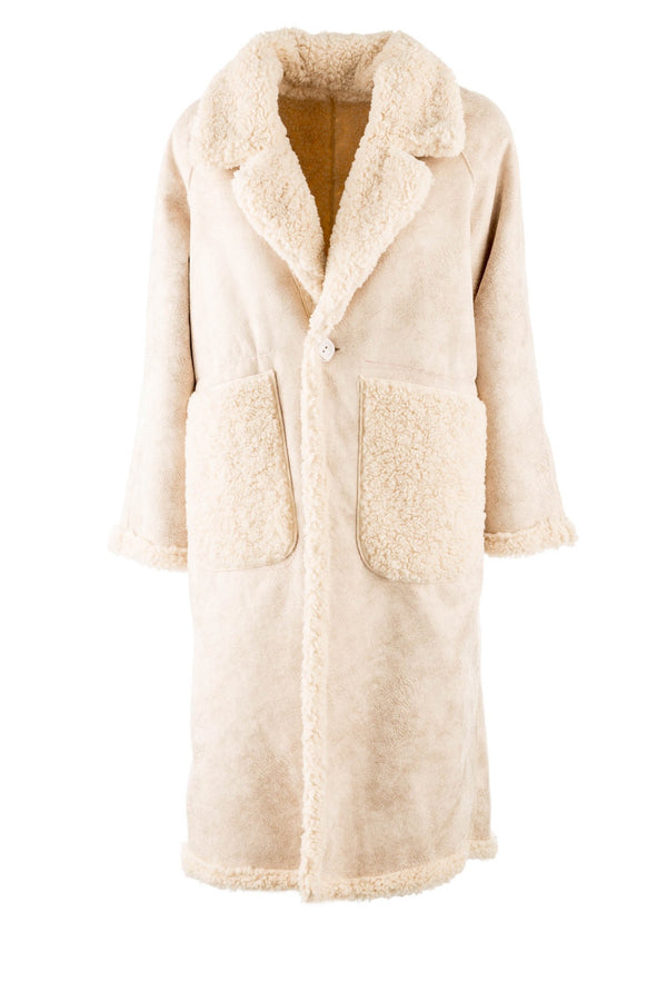 Tia reversible teddy coat in beige