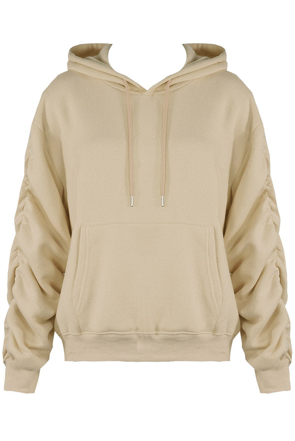 Tilly ruched sleeve oversized hoodie- Beige