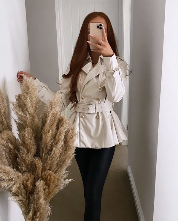 Anya Cream leather jacket
