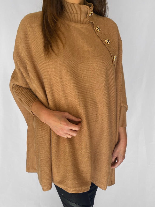 Amy oversized poncho style jumper in camel