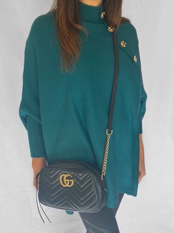 Amy oversized poncho style jumper in teal
