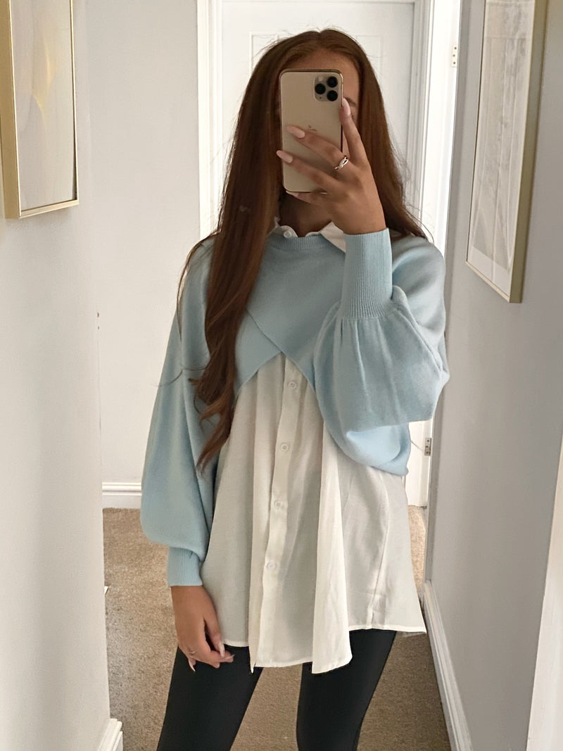 white-shirt-and-blue-jumper-two-piece