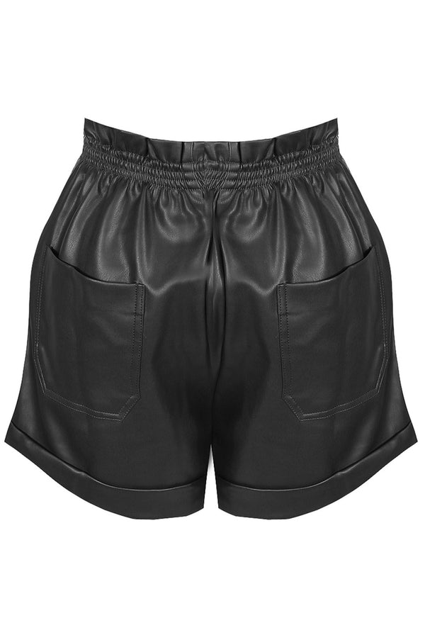 black pu shorts