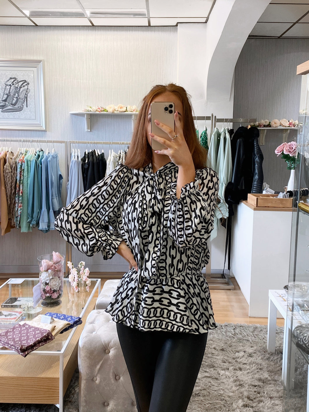 chain print pussy bow peplum blouse black and white