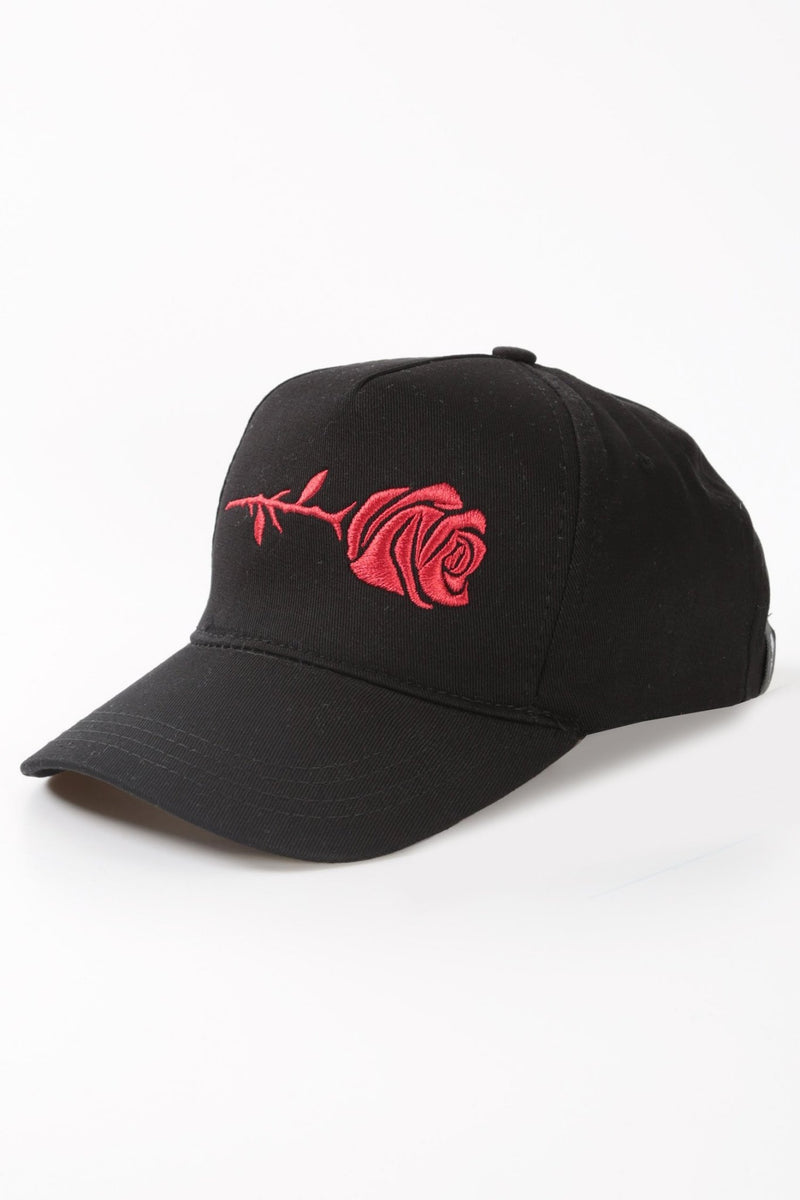 Black Horizontal Rose Cap - Rose London
