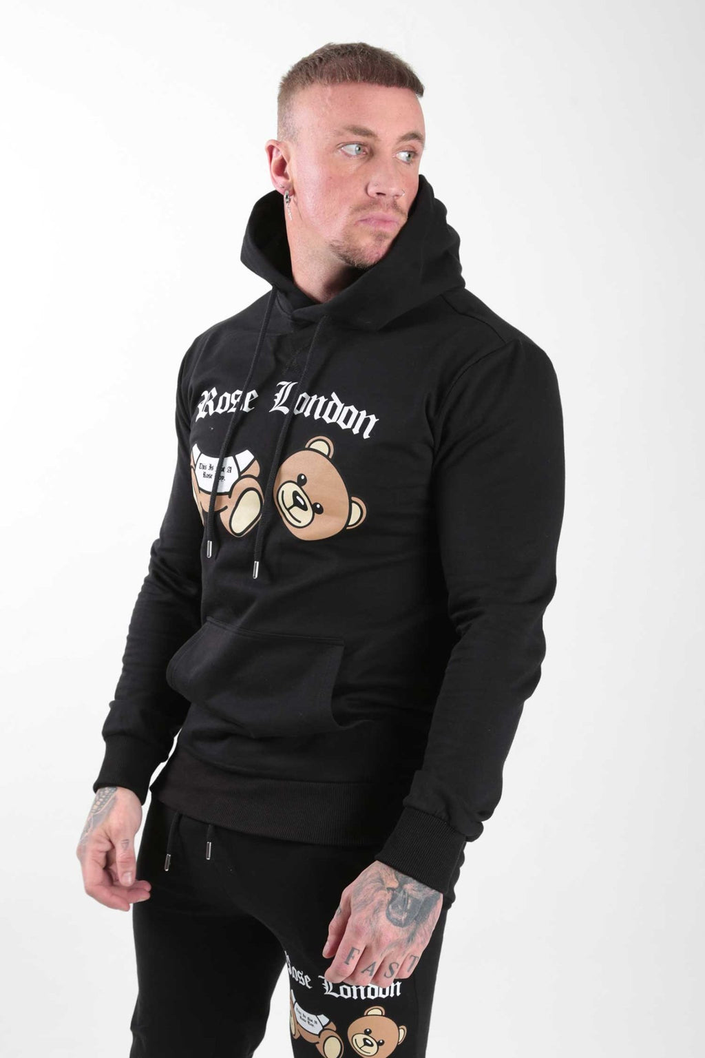Black Teddy Print Hoodie - Rose London