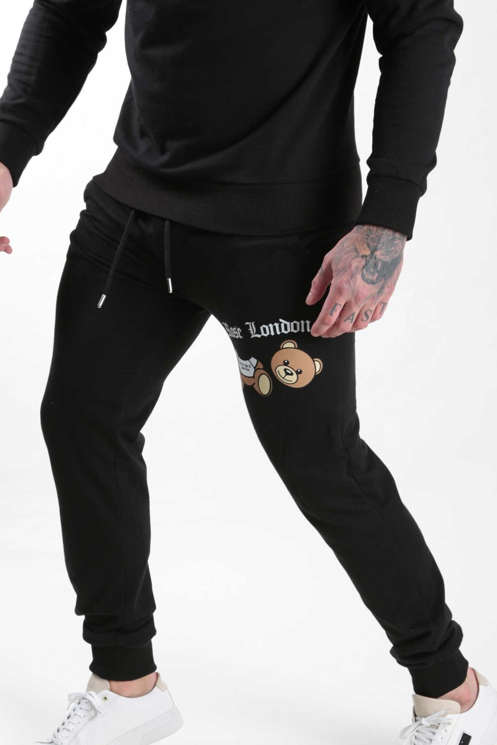 Black Teddy Print Jogger - Rose London