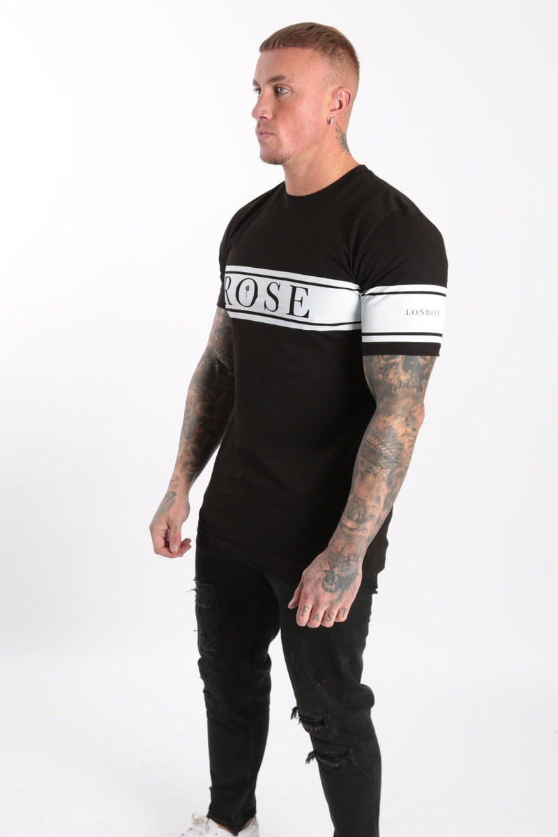 Chest+Arm Stripe T-shirt Black - Rose London