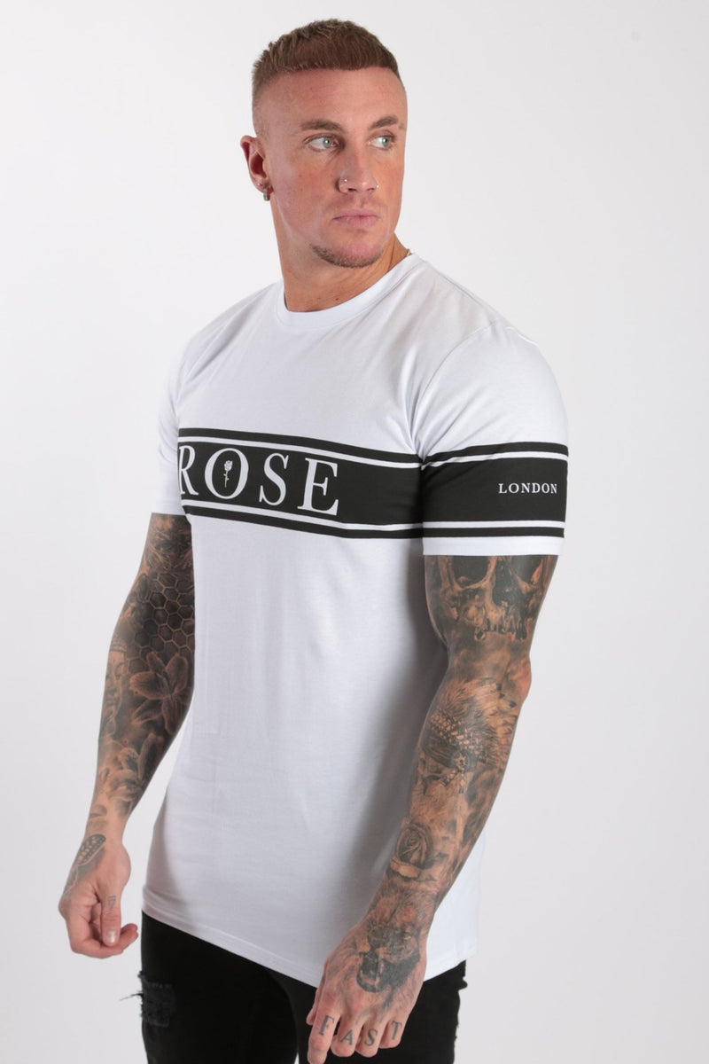 Chest+Arm Stripe T-shirt White - Rose London