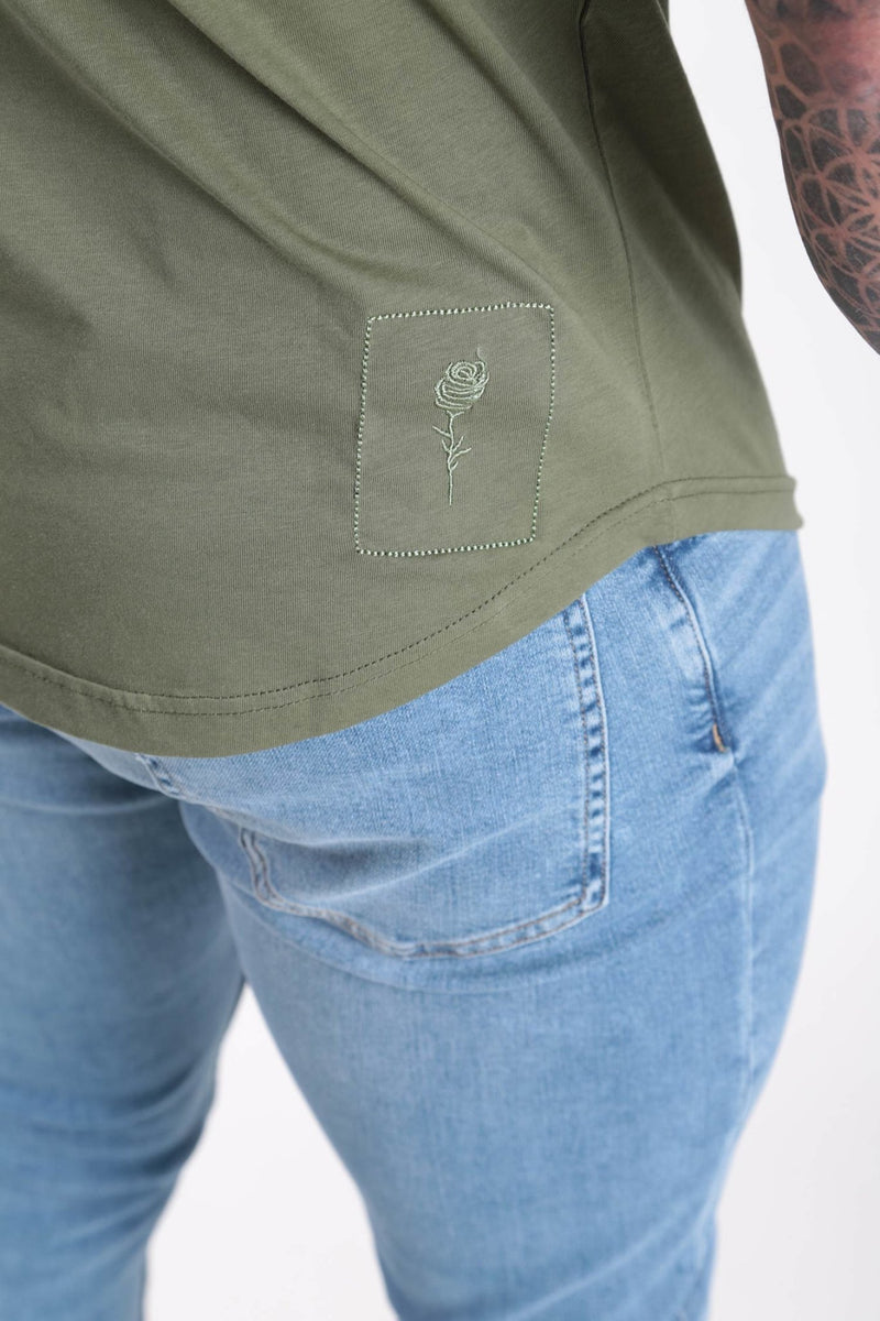 Cut and Sew T-shirt Khaki - Rose London