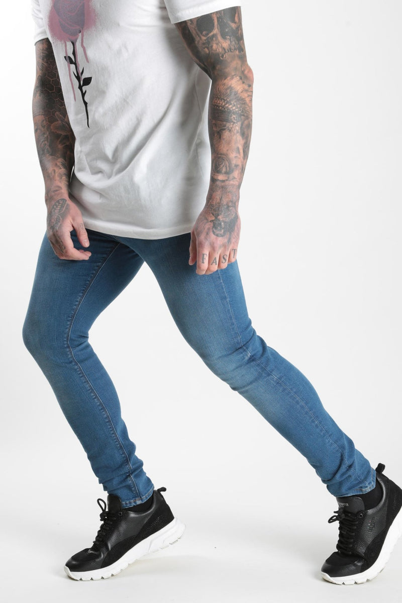 Mid Wash Denim Back Print Blue - Rose London