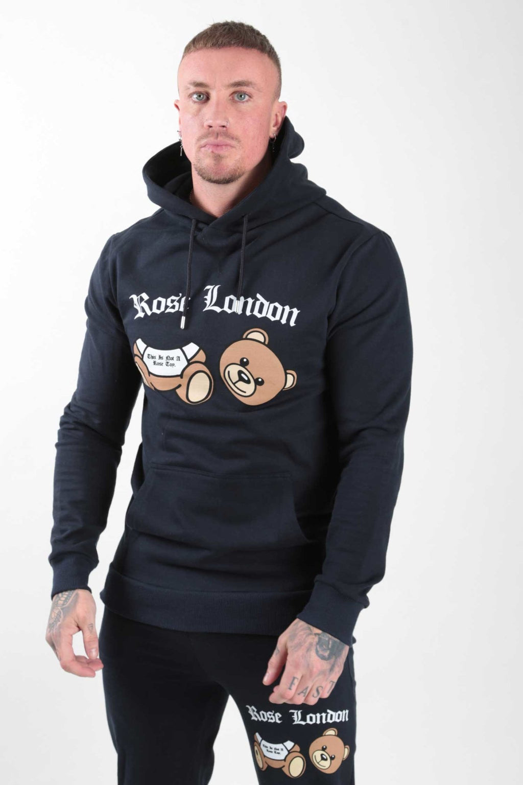 Navy Teddy Print Hoodie - Rose London